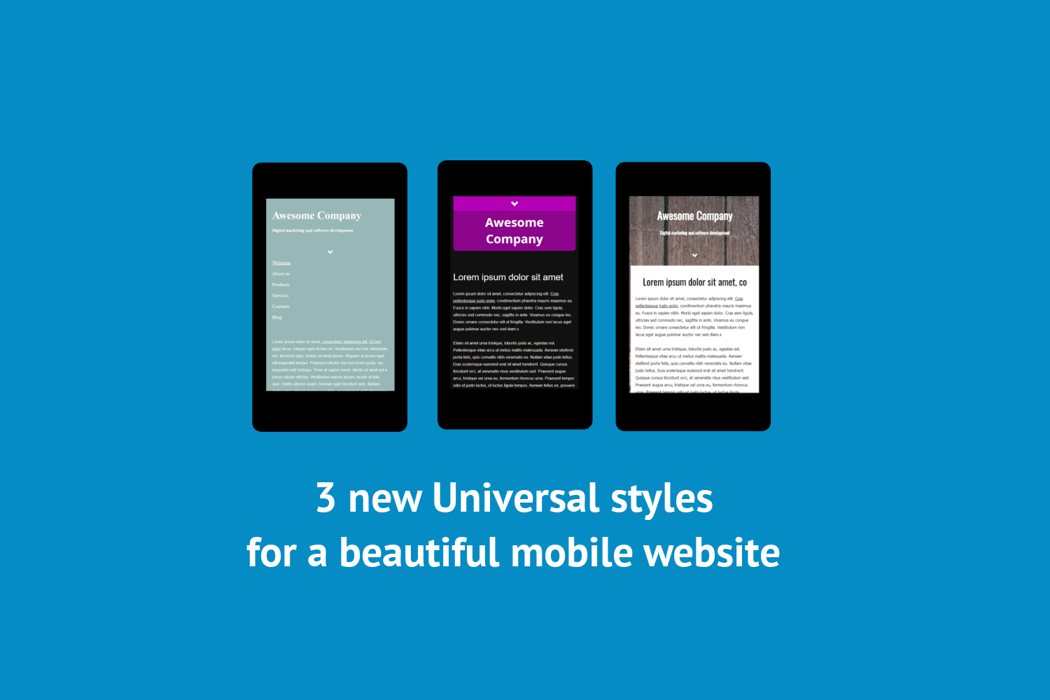 3 new mobile-optimized theme styles
