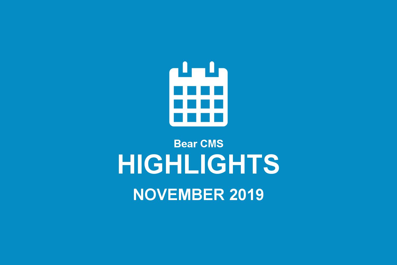 Bear CMS highlights (November 2019)