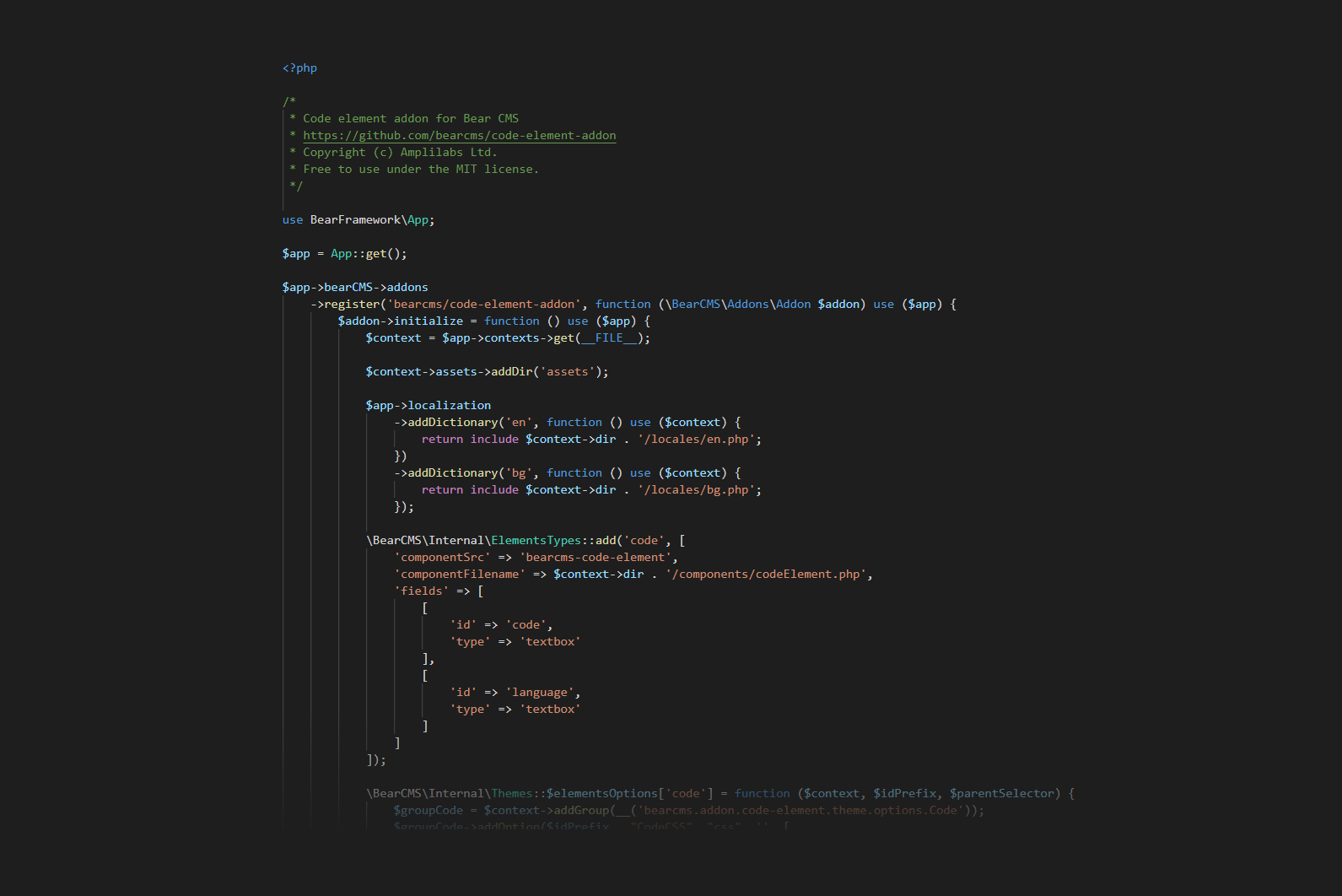 New addon: Source code element